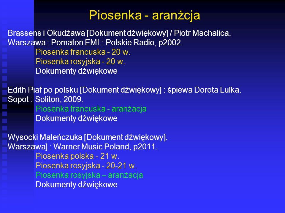 Piosenka - aranżcja Brassens i Okudżawa [Dokument dźwiękowy] / Piotr Machalica. Warszawa : Pomaton EMI : Polskie Radio, p2002.